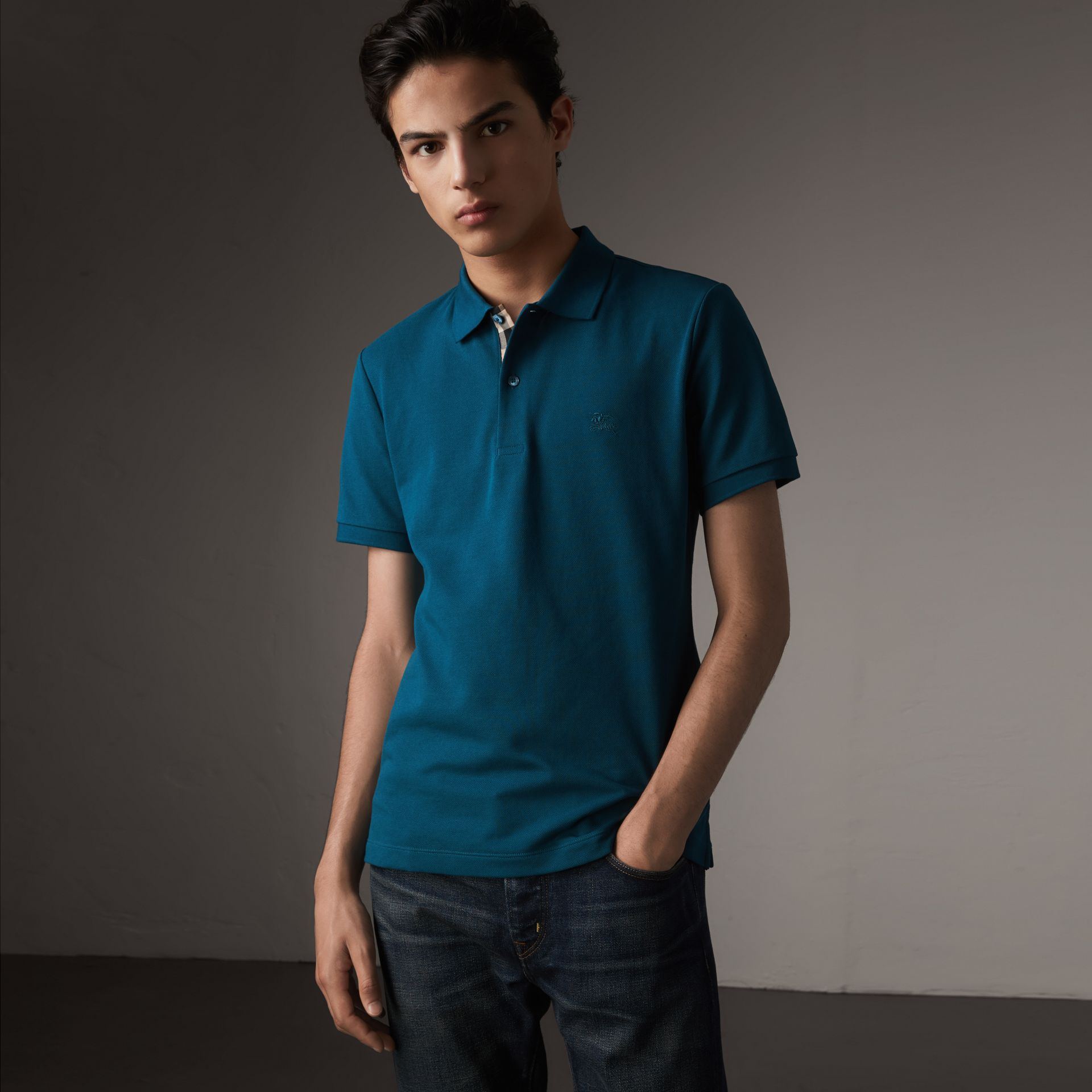 Check Placket Cotton Piqué Polo Shirt in Mineral Blue - Men | Burberry - gallery image 0