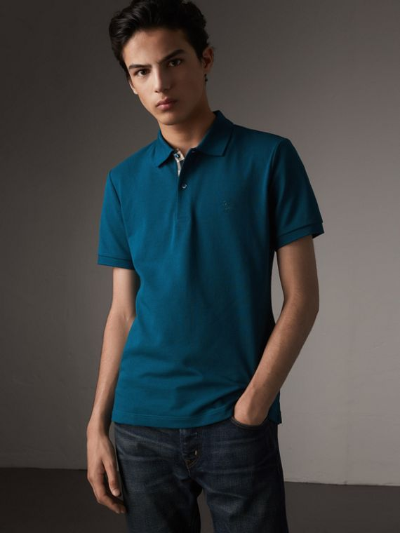 Check Placket Cotton Piqué Polo Shirt in Mineral Blue