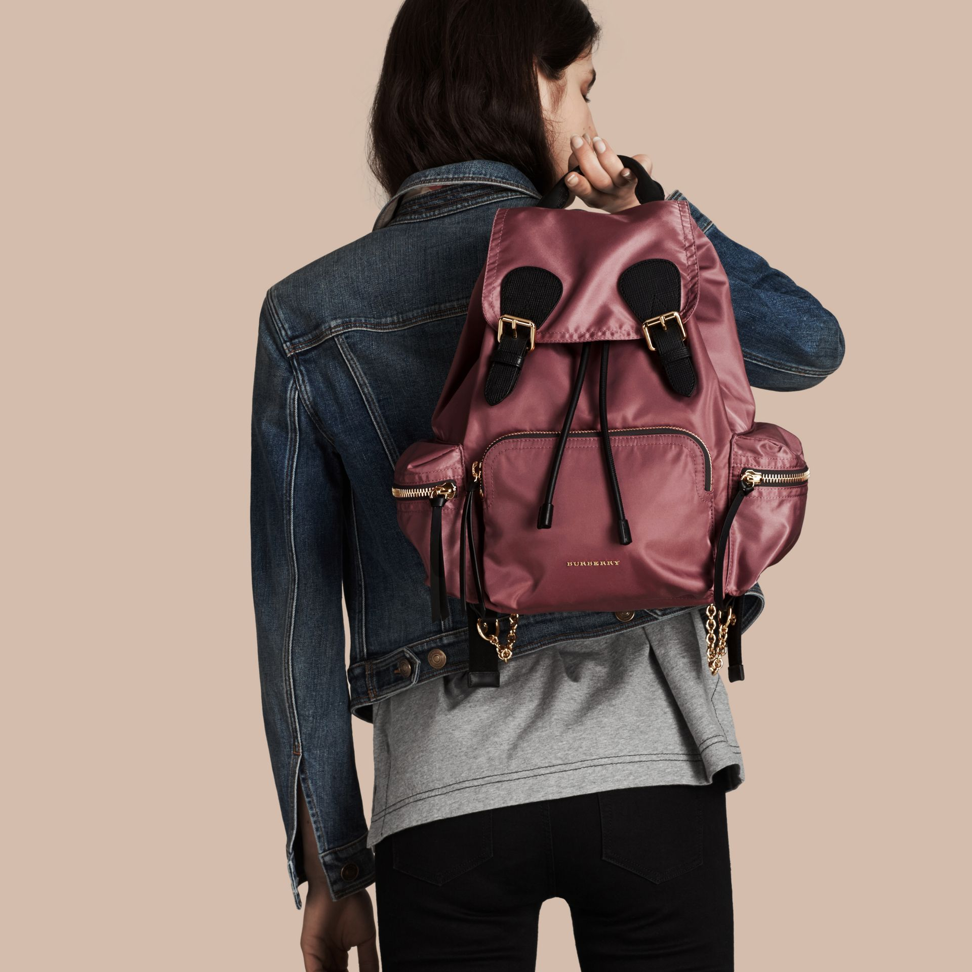 The Medium Rucksack in Technical Nylon and Leather Mauve Pink - gallery image 3