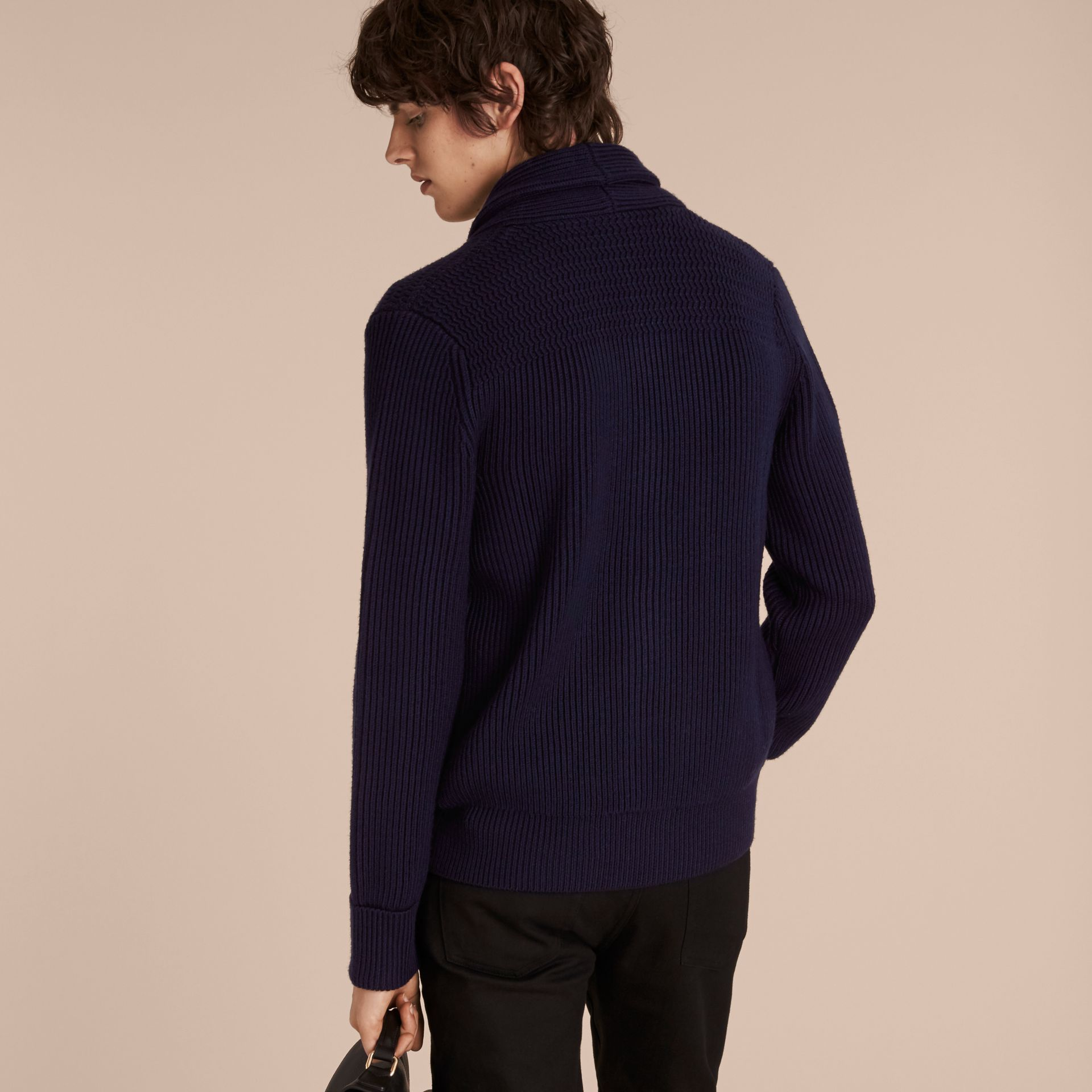 Navy Shawl Collar Ribbed Wool Silk Cardigan - gallery image 3