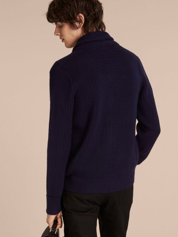 Navy Shawl Collar Ribbed Wool Silk Cardigan - cell image 2