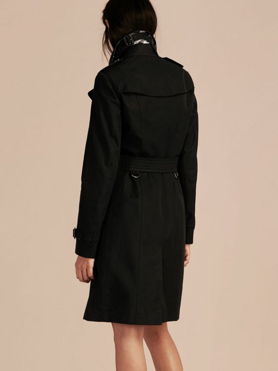 Black Cotton Gabardine Trench Coat with Embellished Fastening - cell image 2