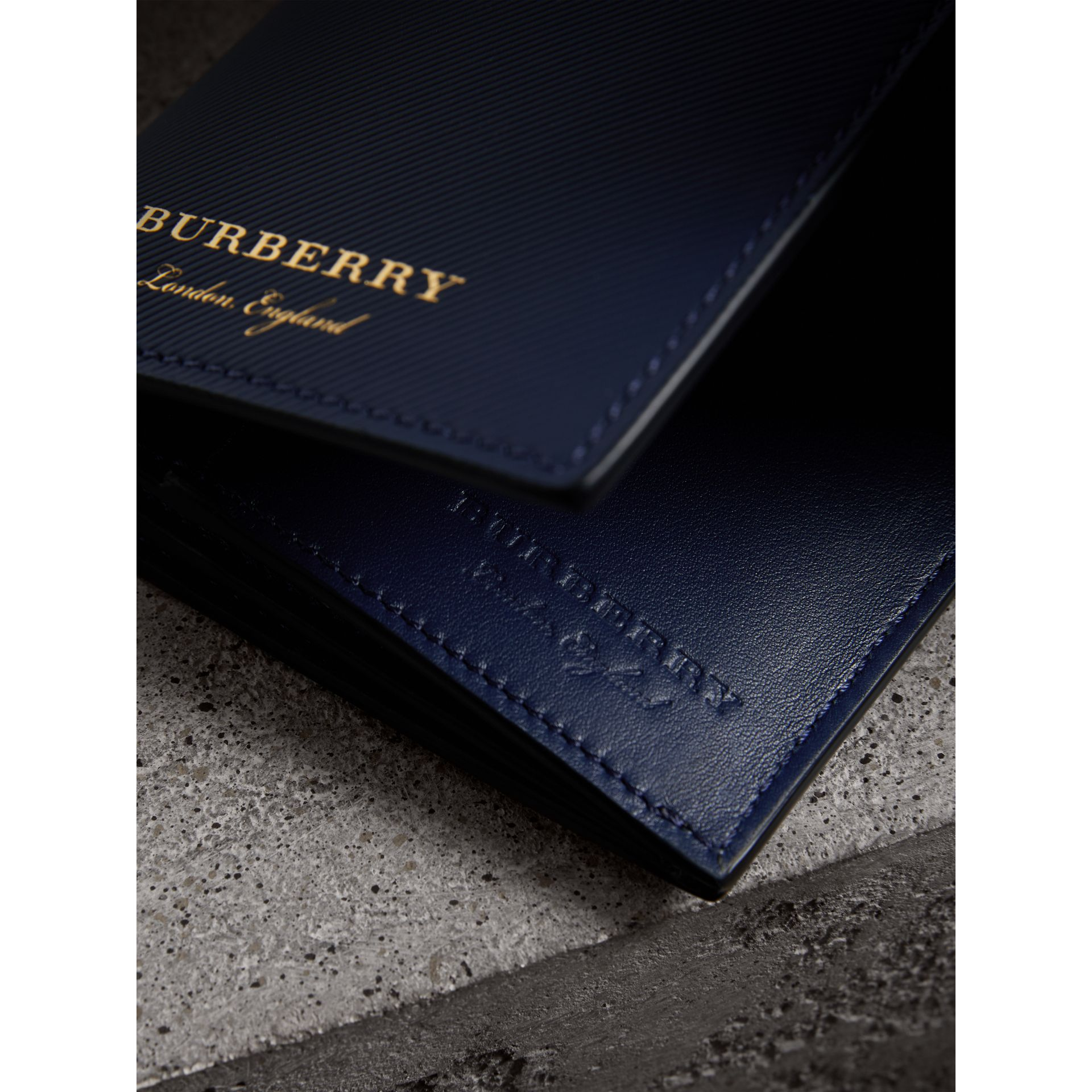Trench Leather Continental Wallet in Ink Blue - Men | Burberry - gallery image 1