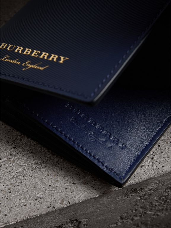 Trench Leather Continental Wallet in Ink Blue - Men | Burberry - cell image 1