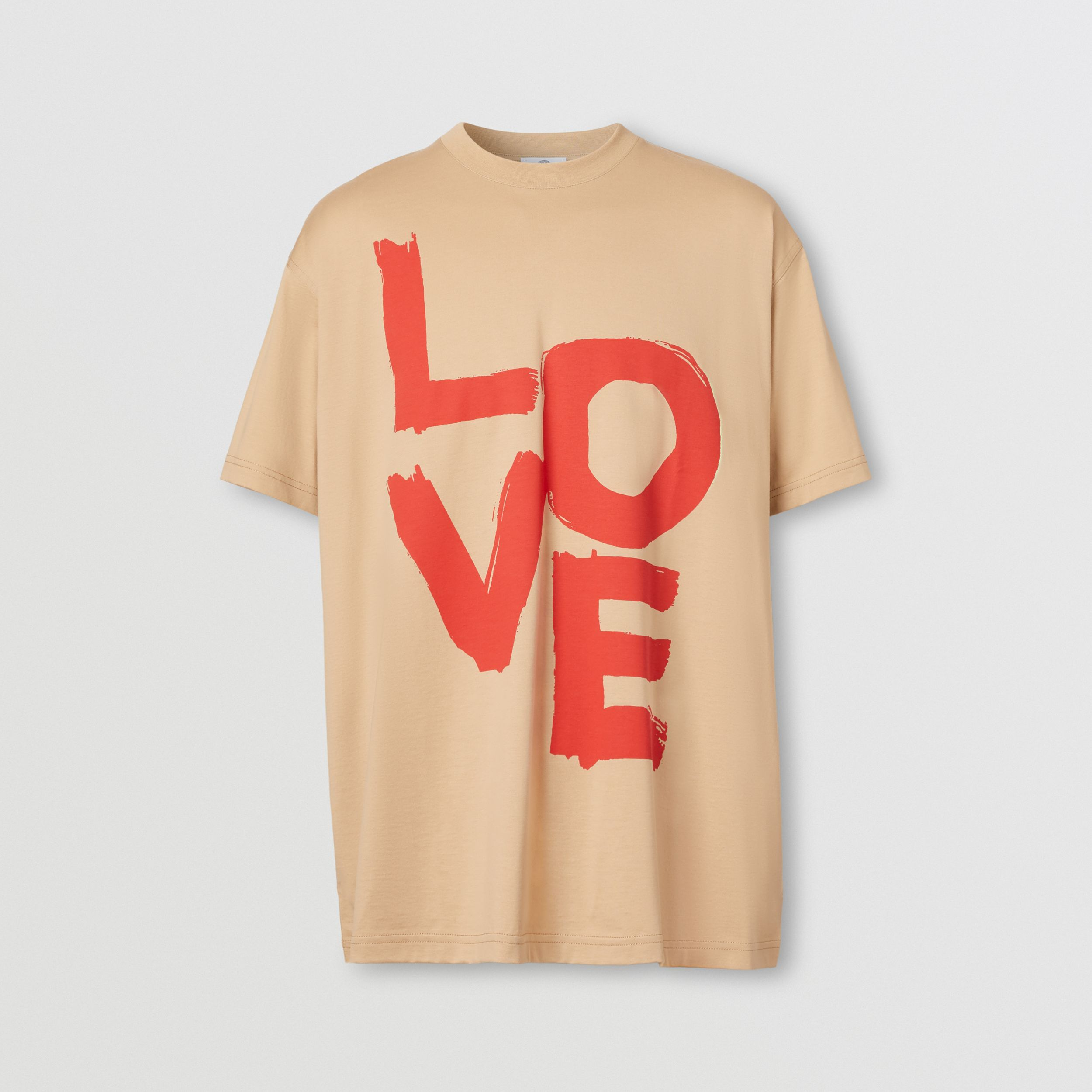 Love Print Organic Cotton Oversized T-shirt in Soft Fawn - Men | Burberry - 4