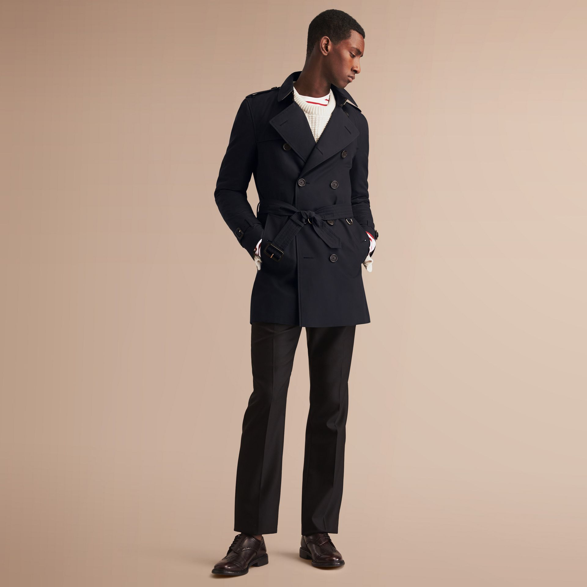 The Kensington – Mid-length Heritage Trench Coat Navy - gallery image 8
