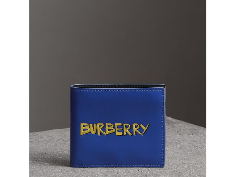 Graffiti Print Leather International Bifold Wallet in Denim Blue - Men | Burberry - cell image 4
