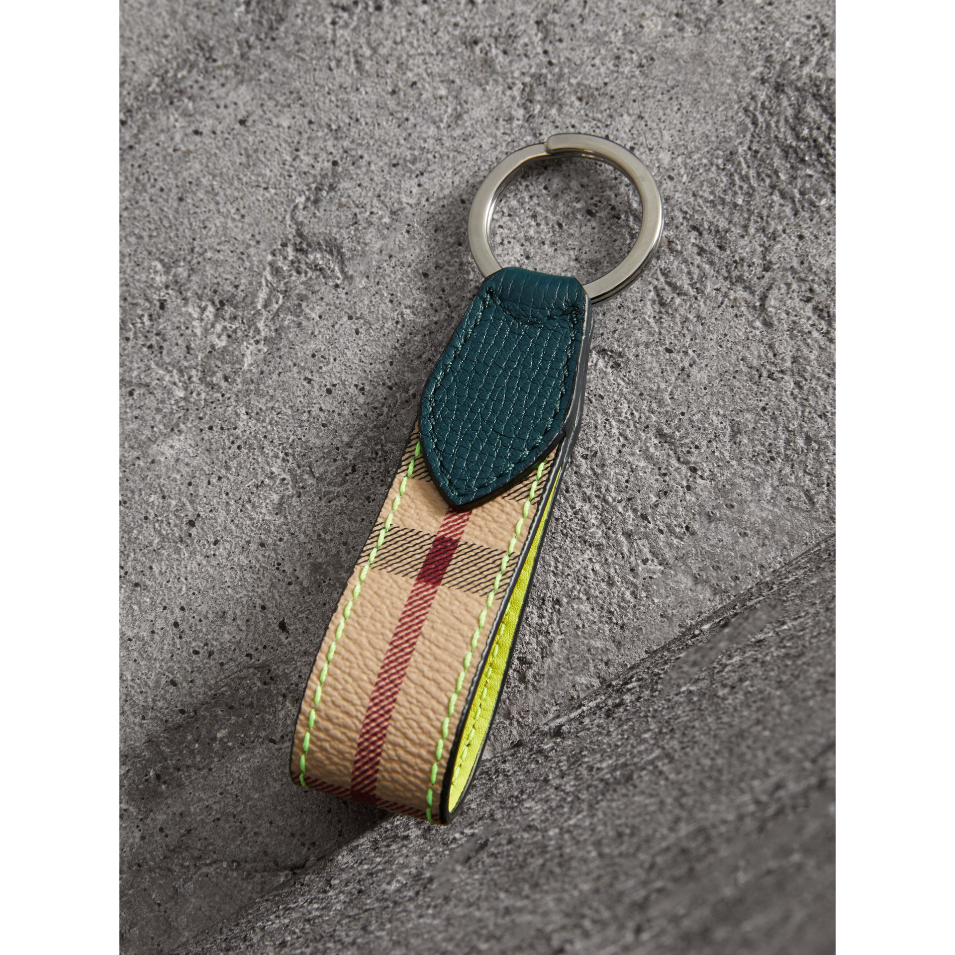 Haymarket Check and Two-tone Leather Key Ring in Bright Yellow - Men | Burberry - gallery image 2