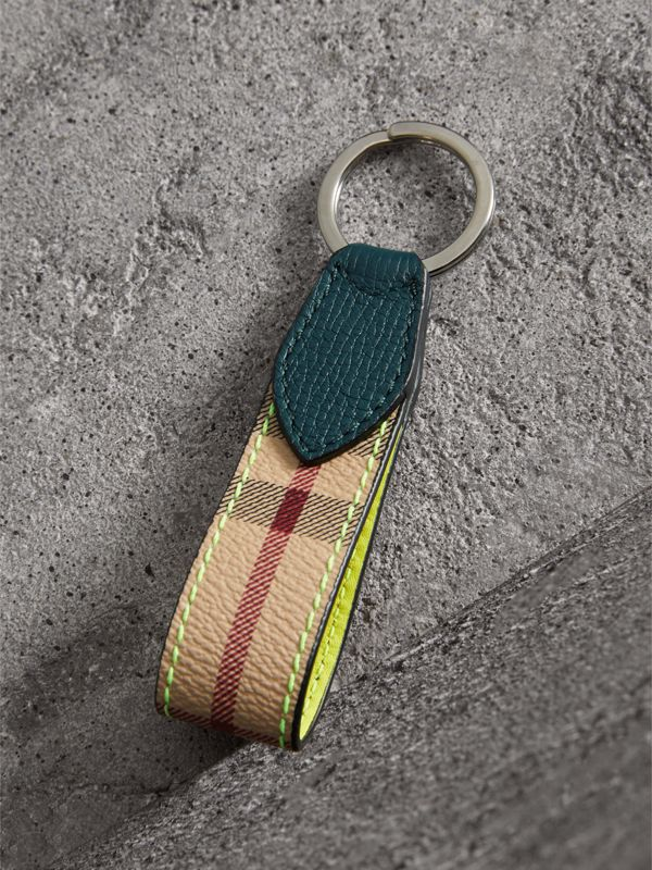 Haymarket Check and Two-tone Leather Key Ring in Bright Yellow - Men | Burberry United Kingdom - cell image 2
