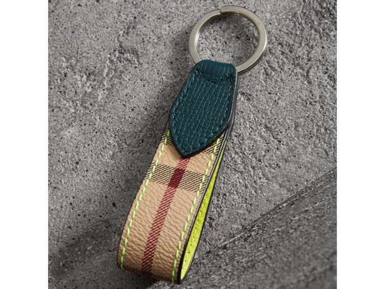 Haymarket Check and Two-tone Leather Key Ring in Bright Yellow - Men | Burberry - cell image 2