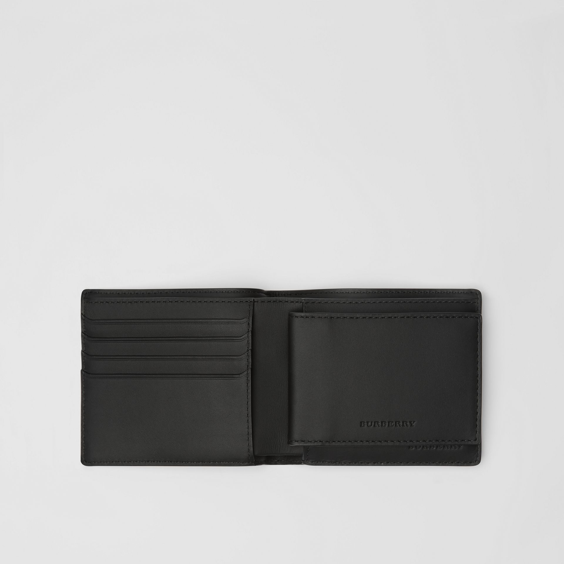 London Check Bifold Wallet with ID Card Case in Charcoal/black - Men | Burberry - gallery image 2