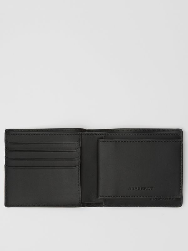 London Check Bifold Wallet with ID Card Case in Charcoal/black - Men | Burberry - cell image 2