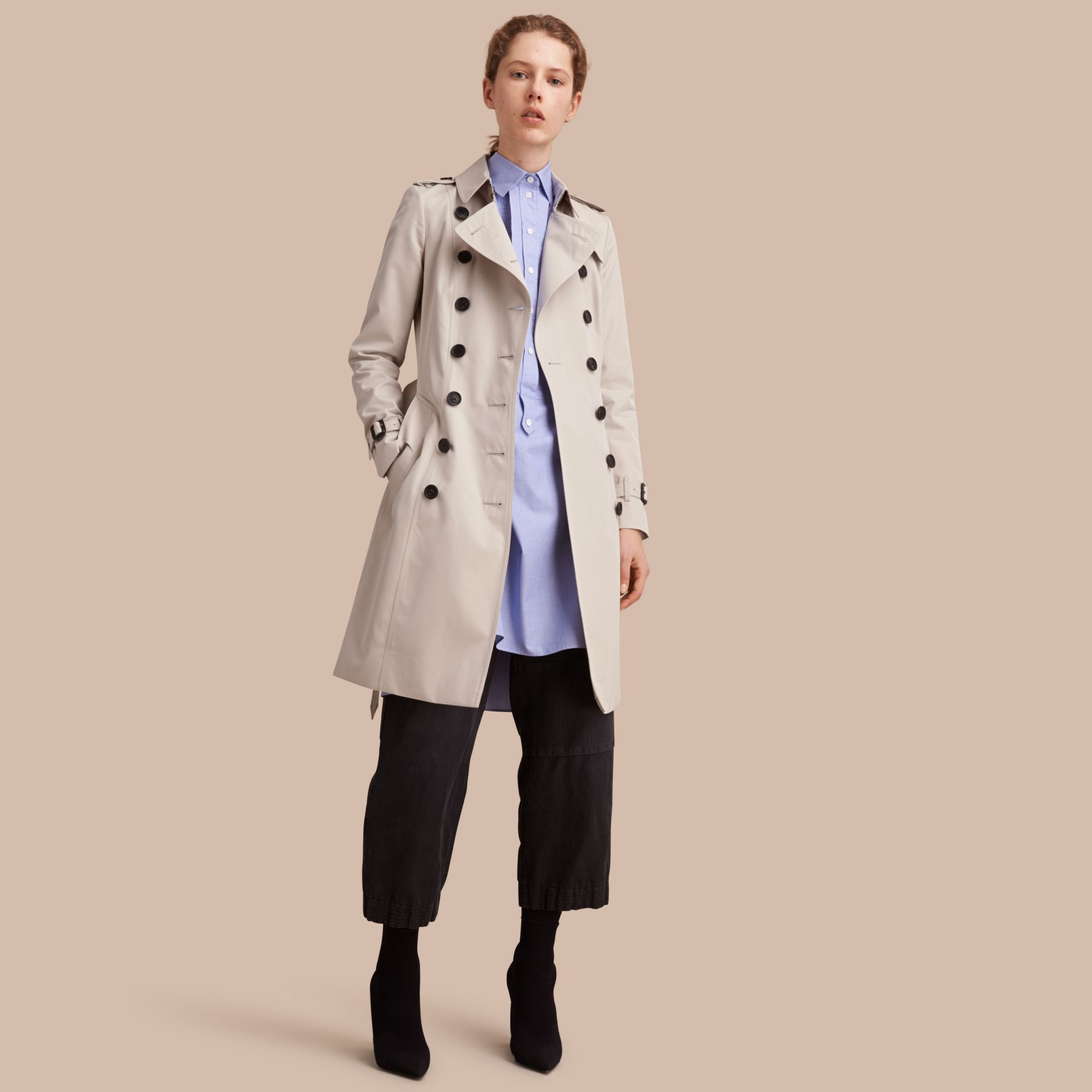 Stone The Chelsea – Long Heritage Trench Coat Stone - gallery image 1
