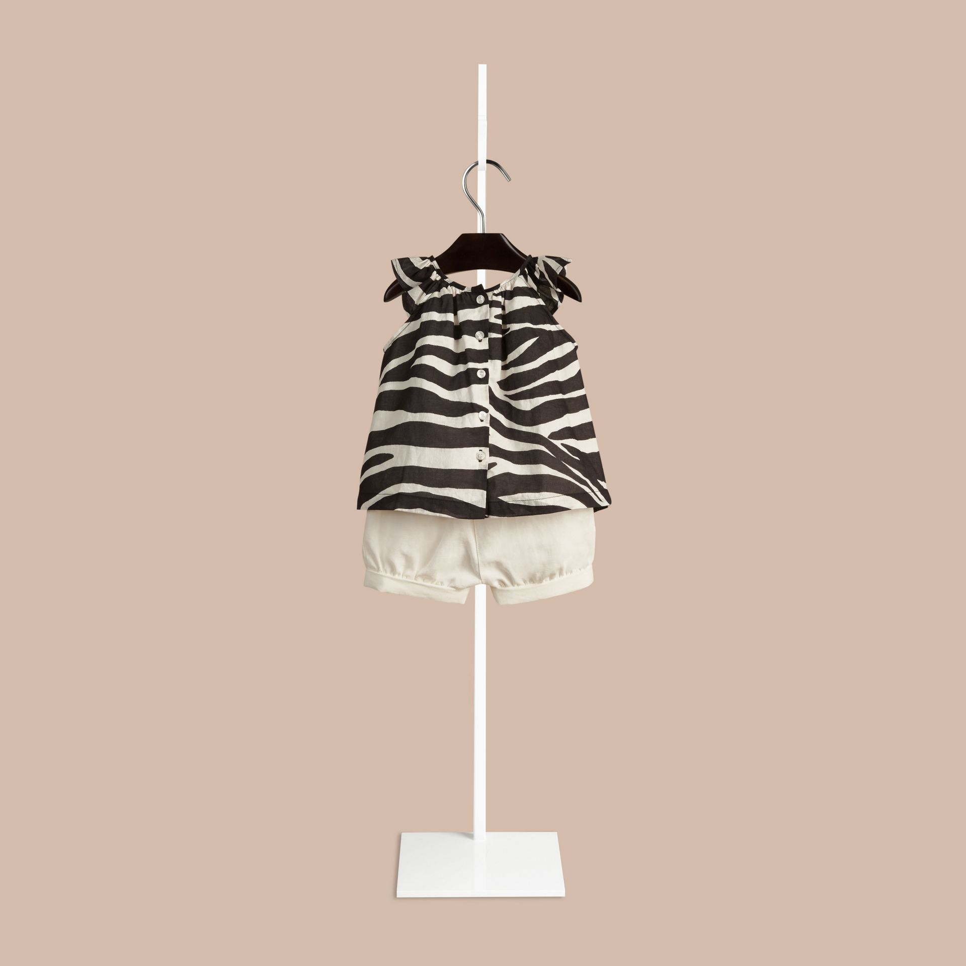 Black/white Zebra Print A-line Cotton Top - gallery image 2