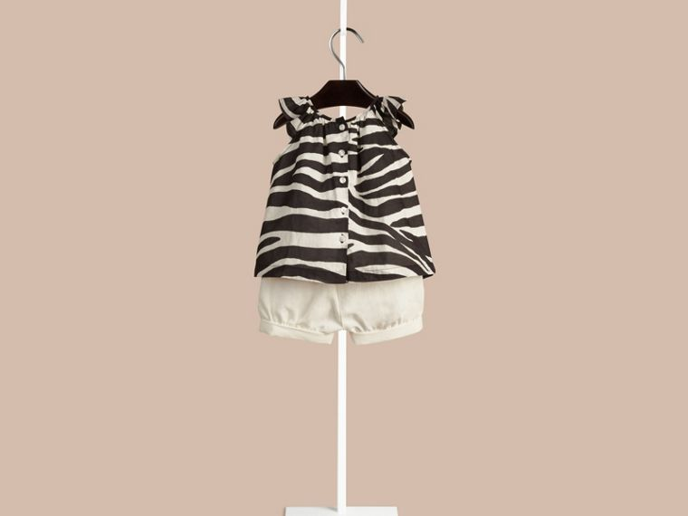 Black/white Zebra Print A-line Cotton Top - cell image 1