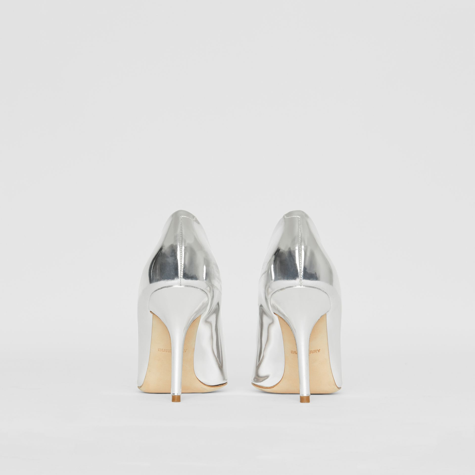 Tape Detail Mirrored Leather Pumps in Silver/gold - Women | Burberry - gallery image 4