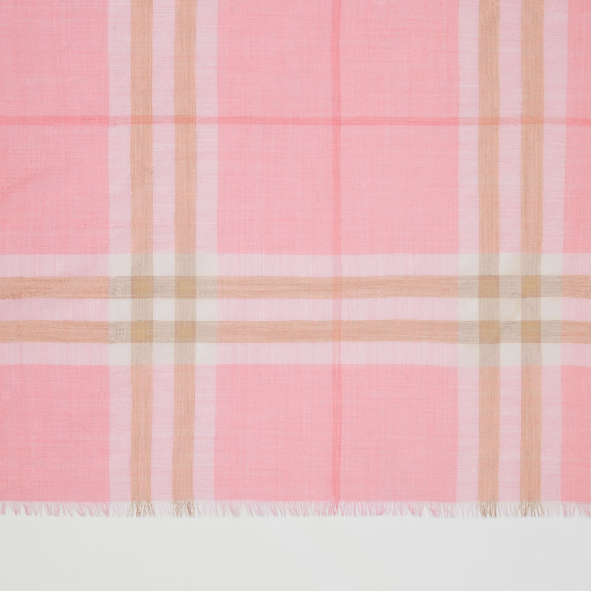 Lightweight Check Wool Silk Scarf in Candy Pink | Burberry - gallery image 1