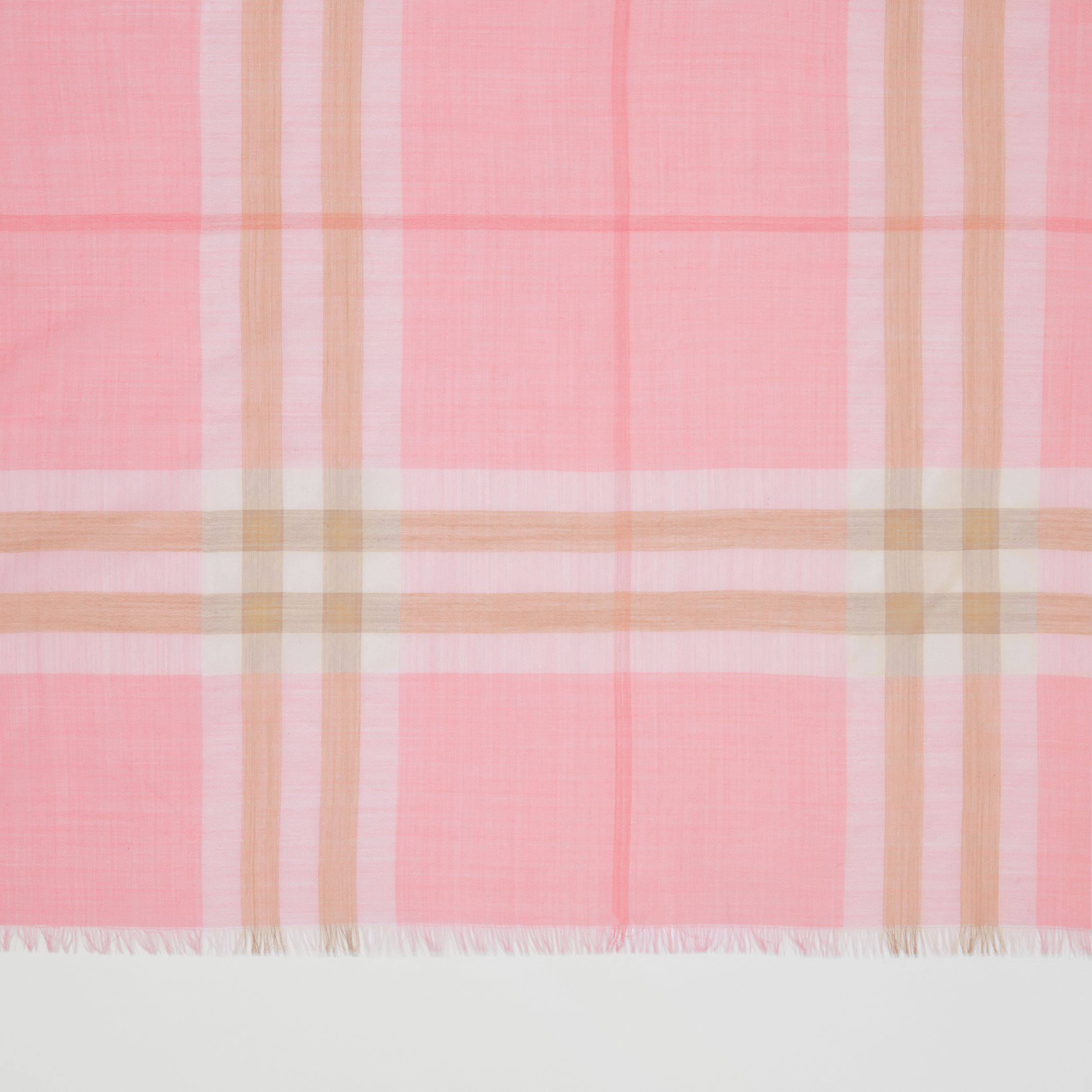 Lightweight Check Wool Silk Scarf in Candy Pink | Burberry - 2