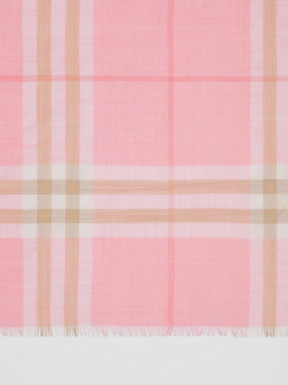Lightweight Check Wool Silk Scarf in Candy Pink | Burberry - cell image 1