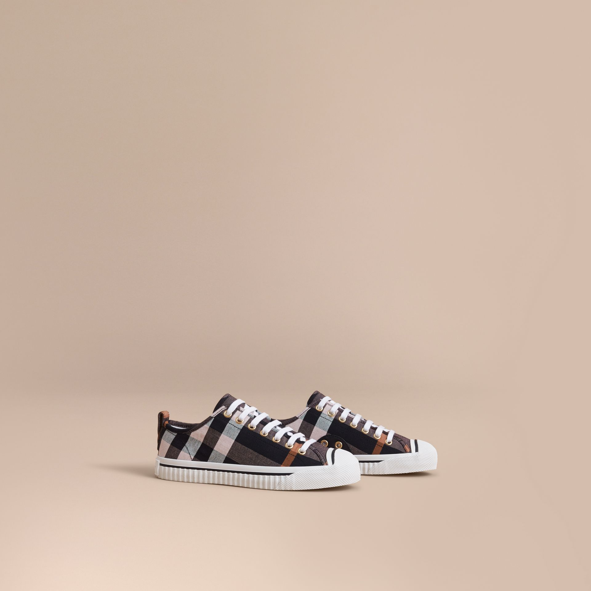 Check Linen Cotton Trainers in Antique Rose - Women | Burberry - gallery image 1