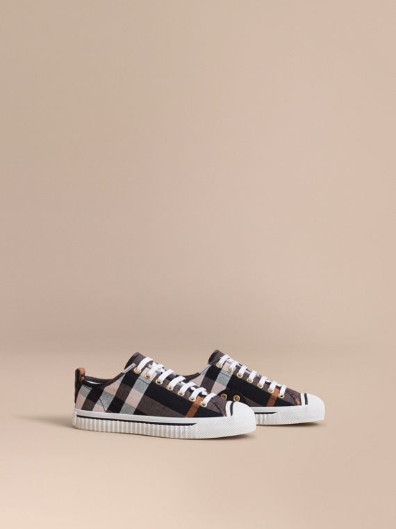 Sneakers en lin et coton à motif check (Rose Antique) - Femme | Burberry