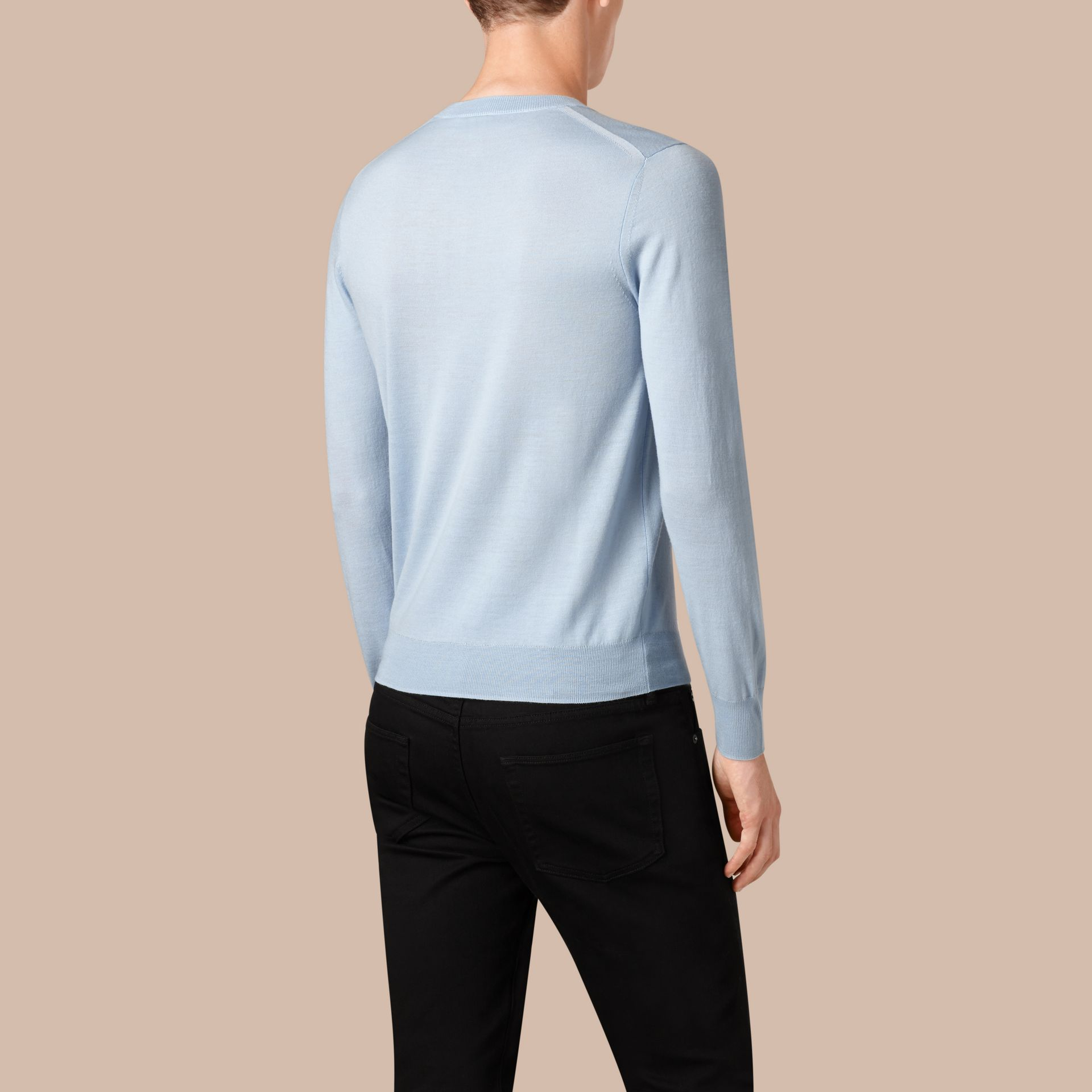 Sky blue Crew Neck Merino Wool Sweater Sky Blue - gallery image 2