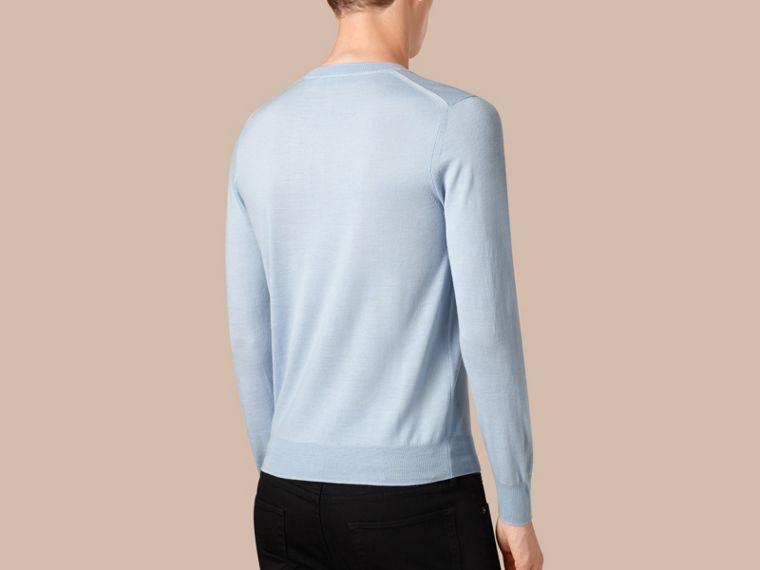Sky blue Crew Neck Merino Wool Sweater Sky Blue - cell image 1