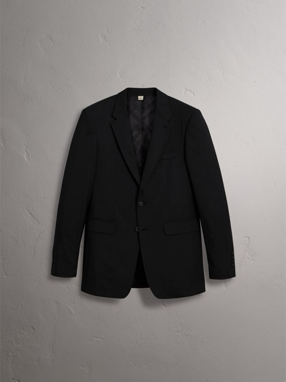Modern Fit Wool Part-canvas Suit in Black - Men | Burberry Canada - cell image 3