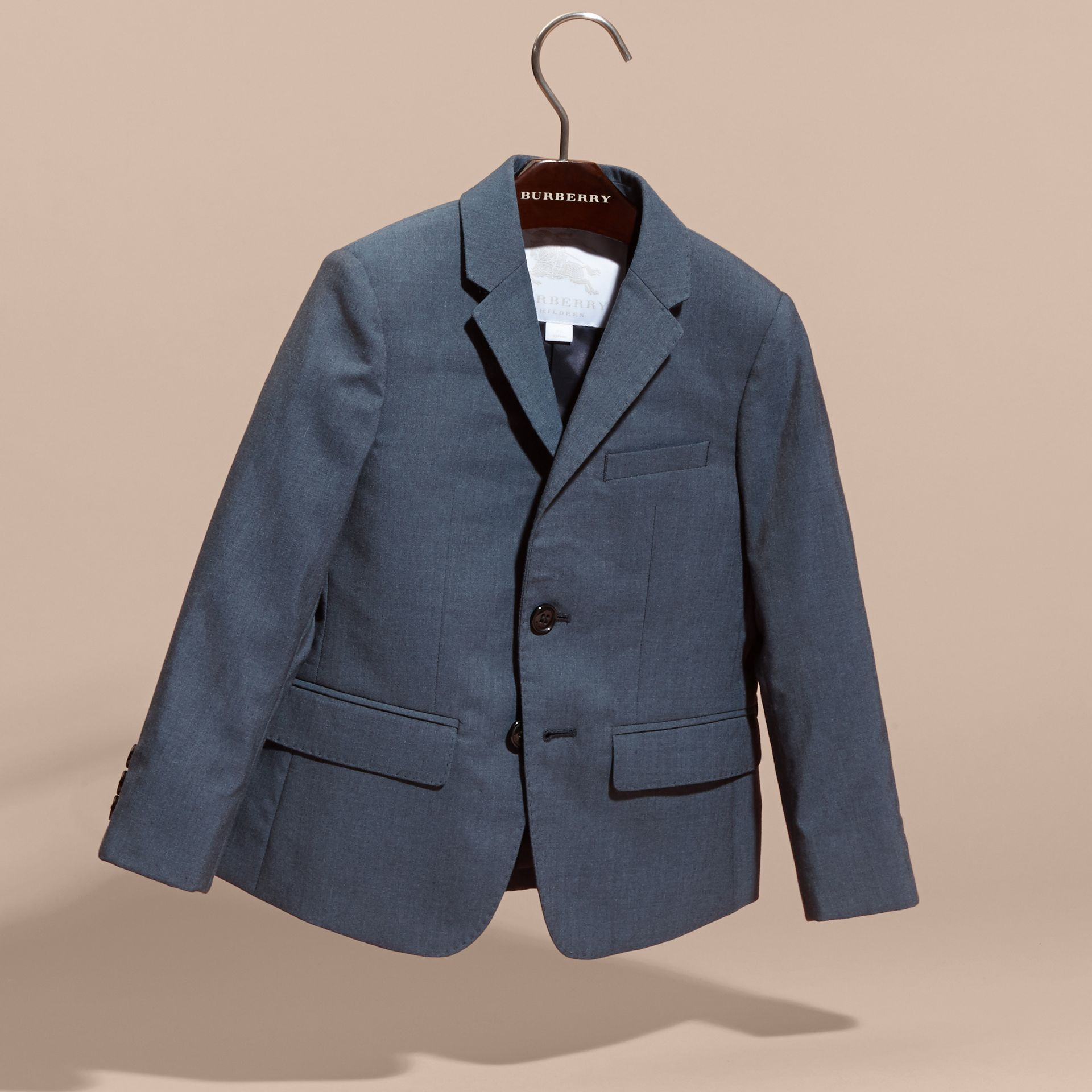 Single-breasted Wool Blazer in Airforce Blue - Boy | Burberry - gallery image 2