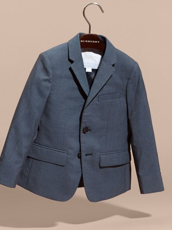 Single-breasted Wool Blazer in Airforce Blue - Boy | Burberry Canada - cell image 2