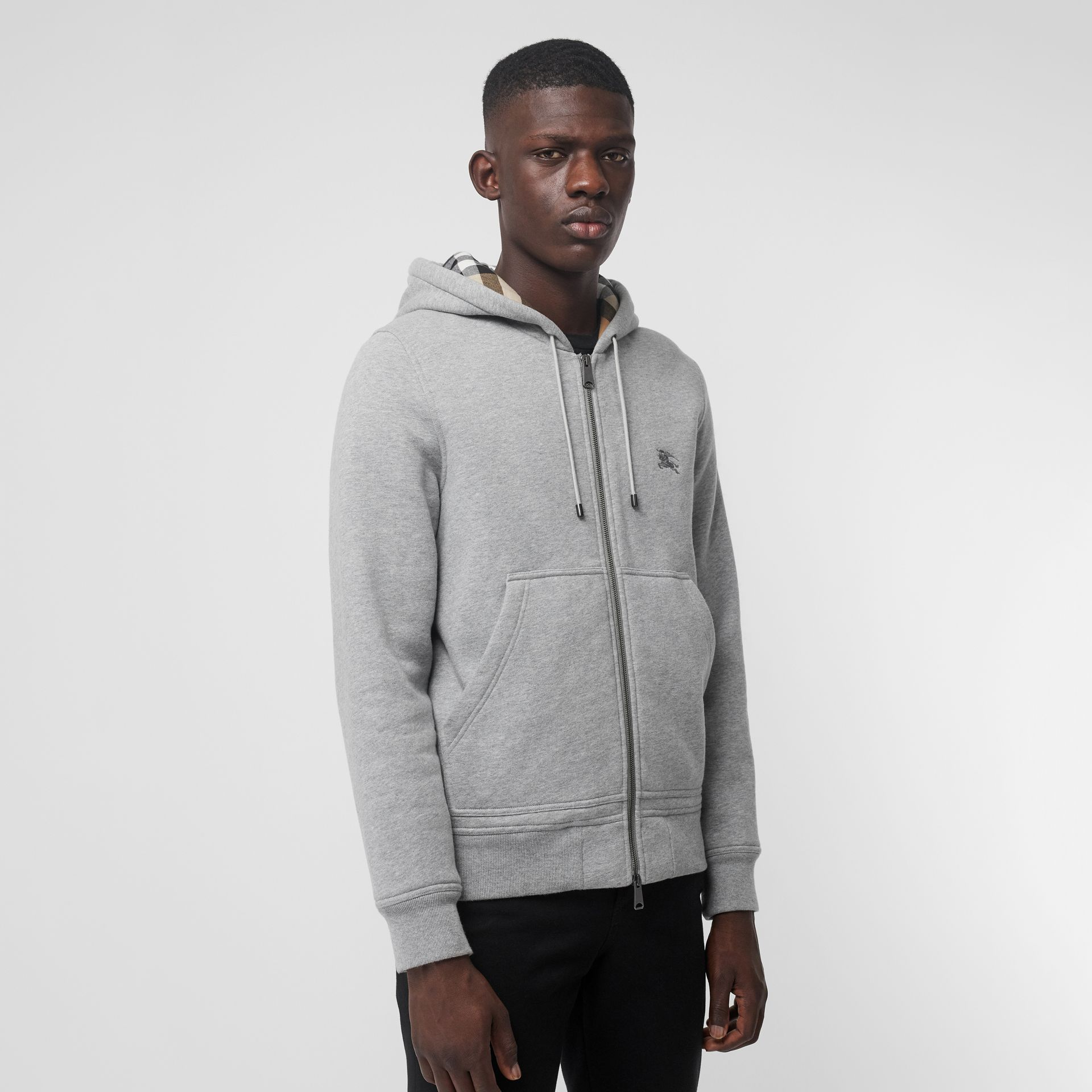 Check Detail Jersey Hooded Top in Pale Grey Melange - Men | Burberry - gallery image 4