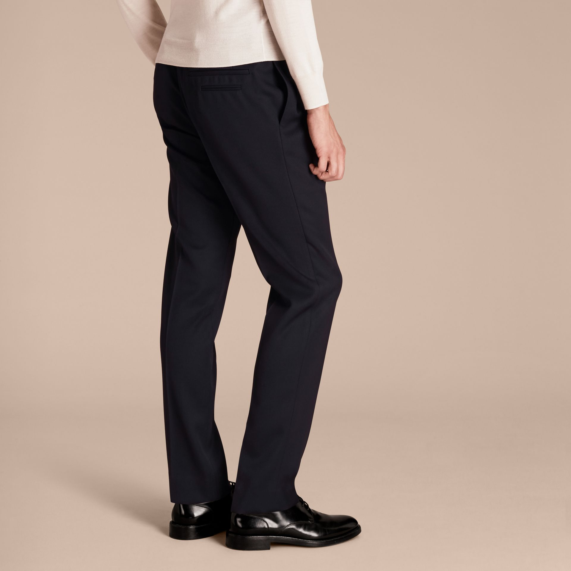 Modern Fit English Wool Tailored Trousers Ink - gallery image 3