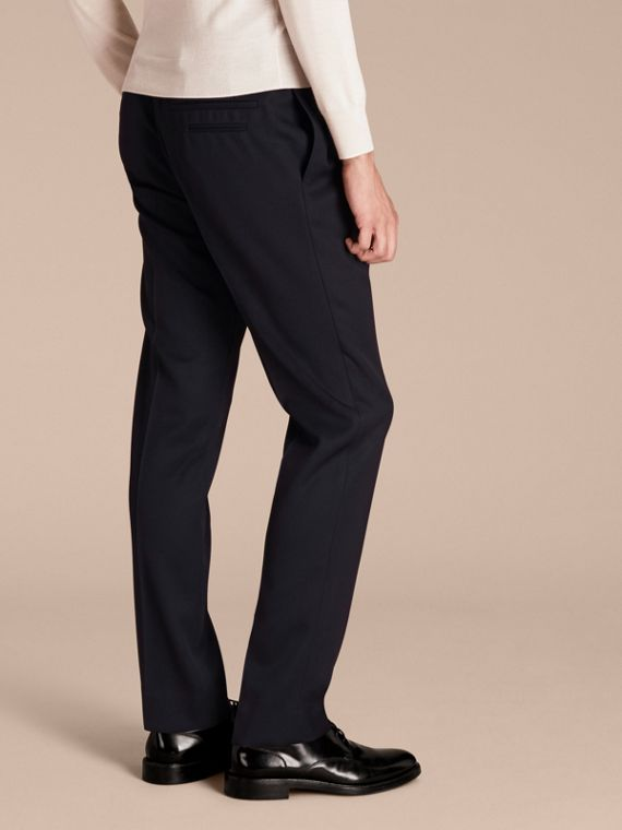 Modern Fit English Wool Tailored Trousers Ink - cell image 2