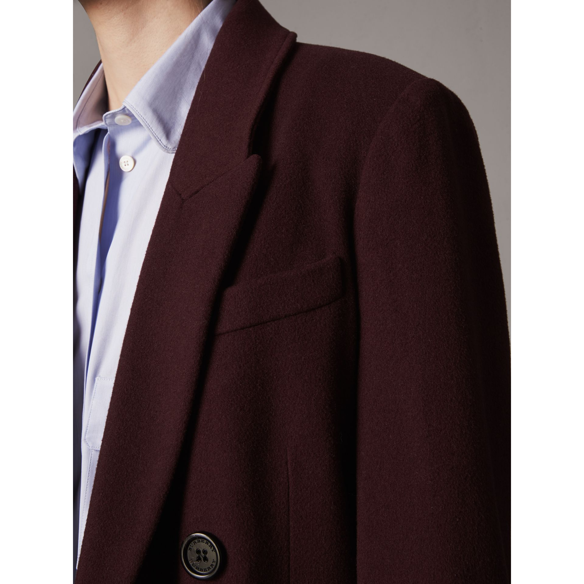 Detachable Rib Knit Collar Cashmere Coat in Blackcurrant - Women | Burberry United States - gallery image 4
