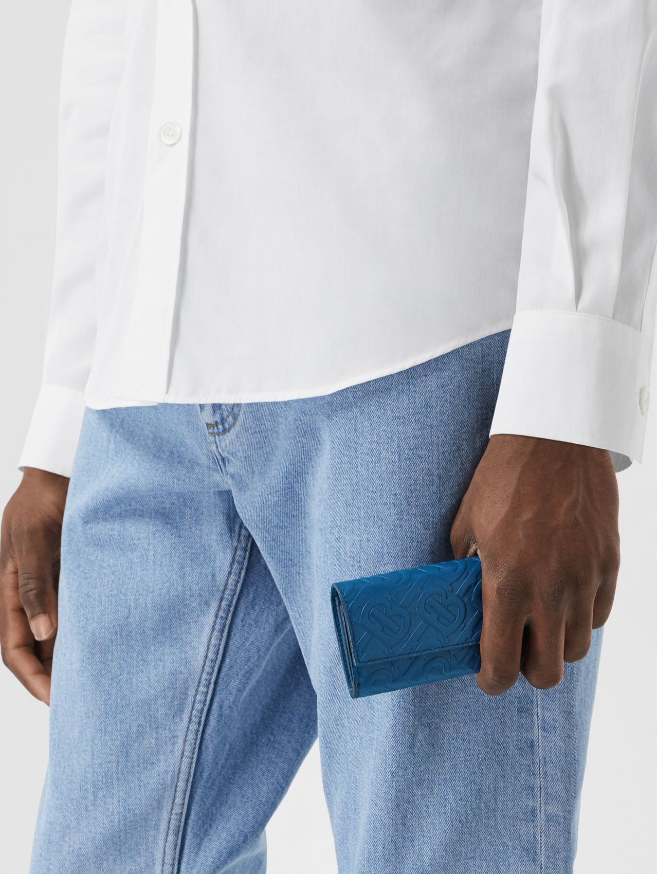 Small Monogram Leather Wallet with Detachable Strap in Pale Canvas Blue