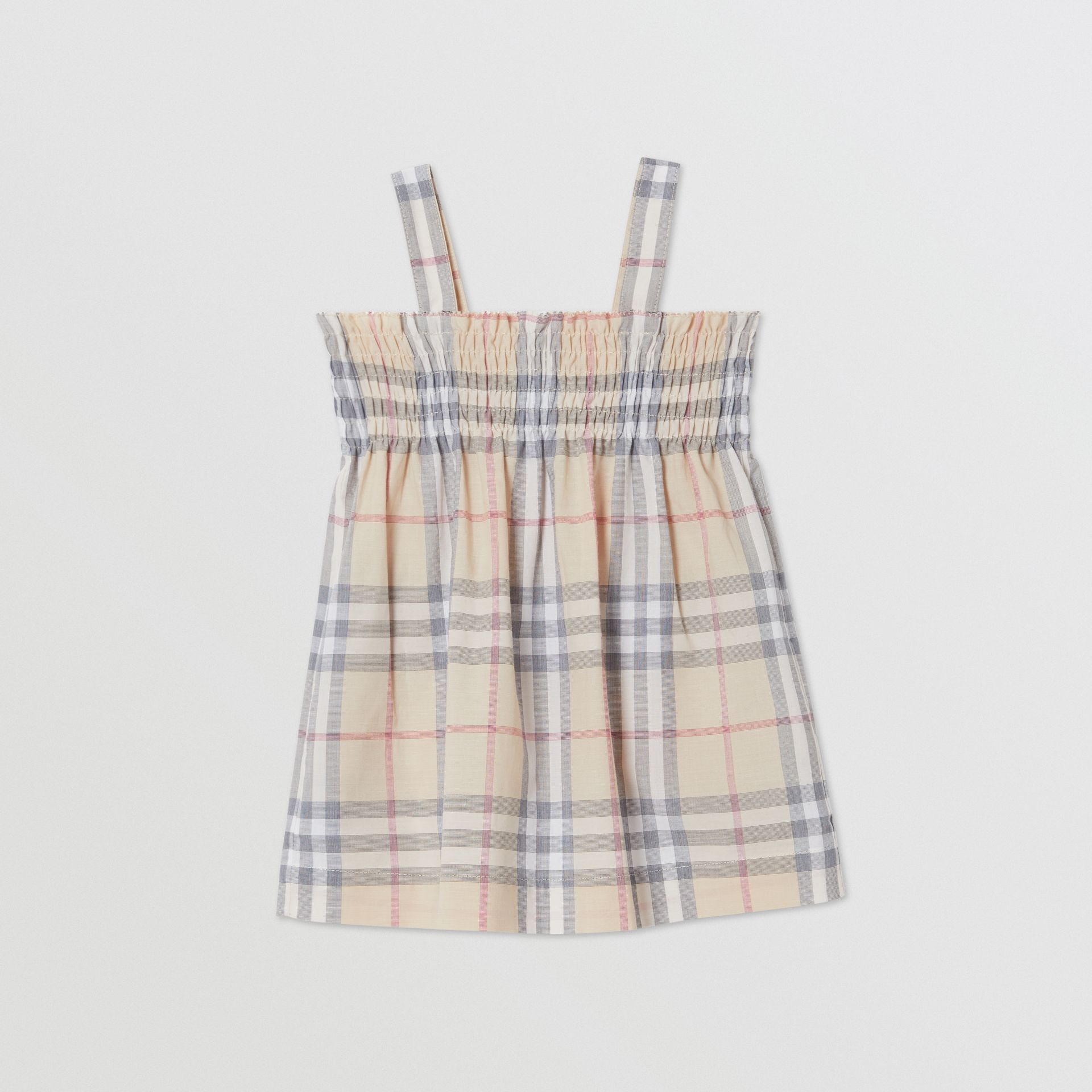 Smocked Check Cotton Dress with Bloomers in Pale Stone - Children | Burberry Canada - gallery image 0
