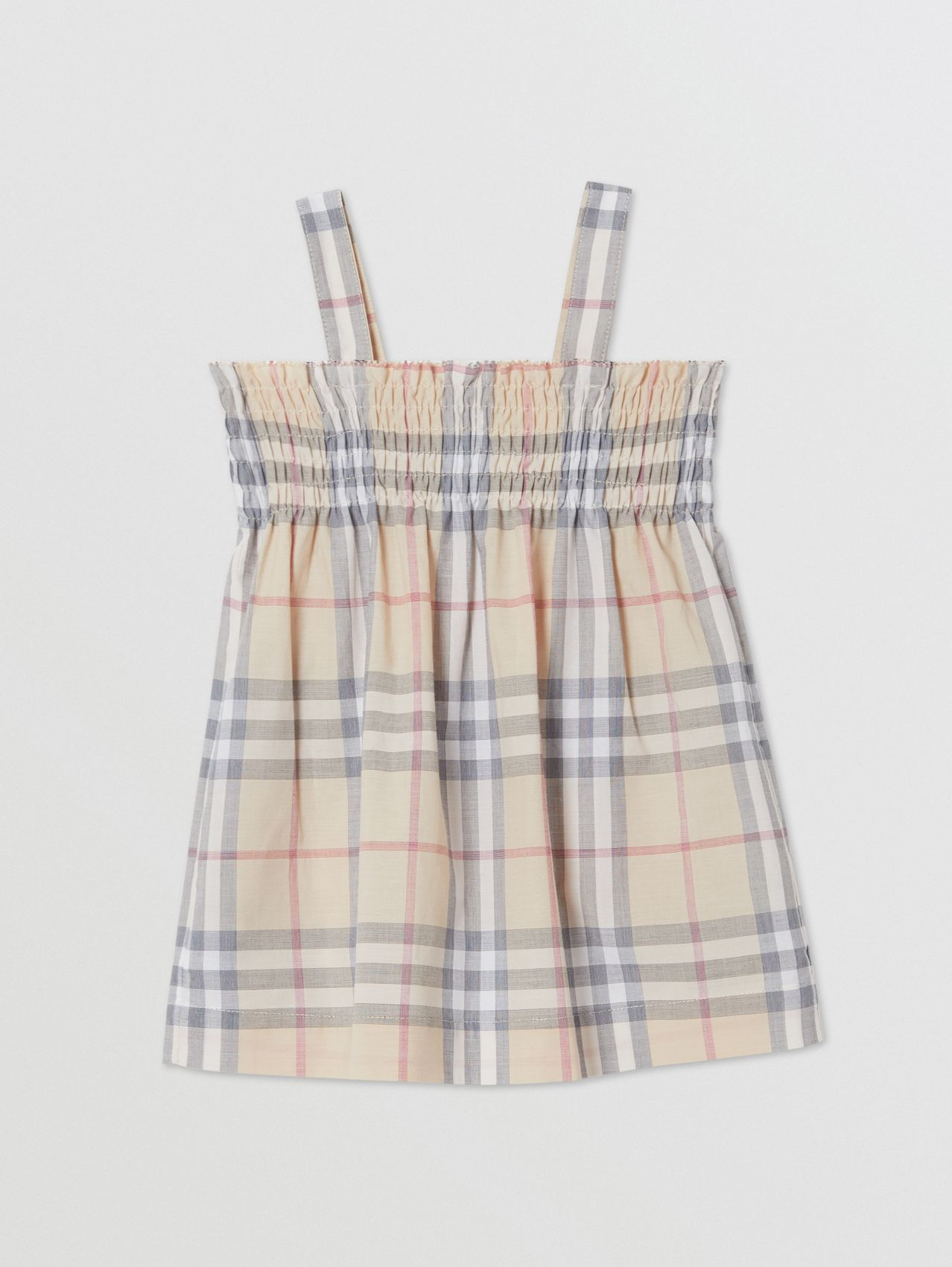 Smocked Check Cotton Dress with Bloomers in Pale Stone