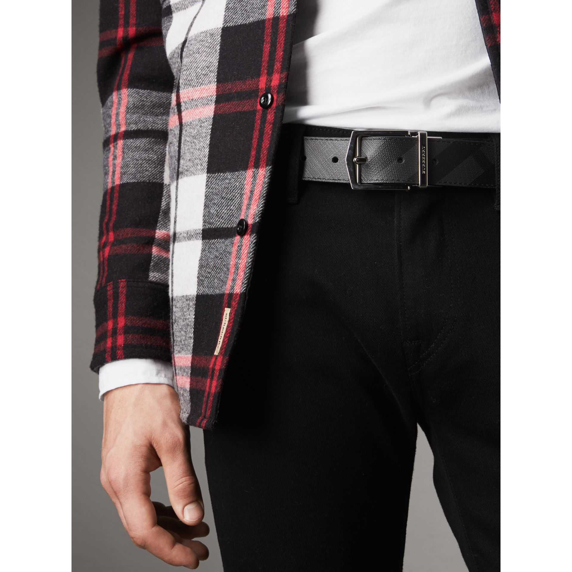 Reversible London Check and Leather Belt in Charcoal/black - Men | Burberry United States - gallery image 2