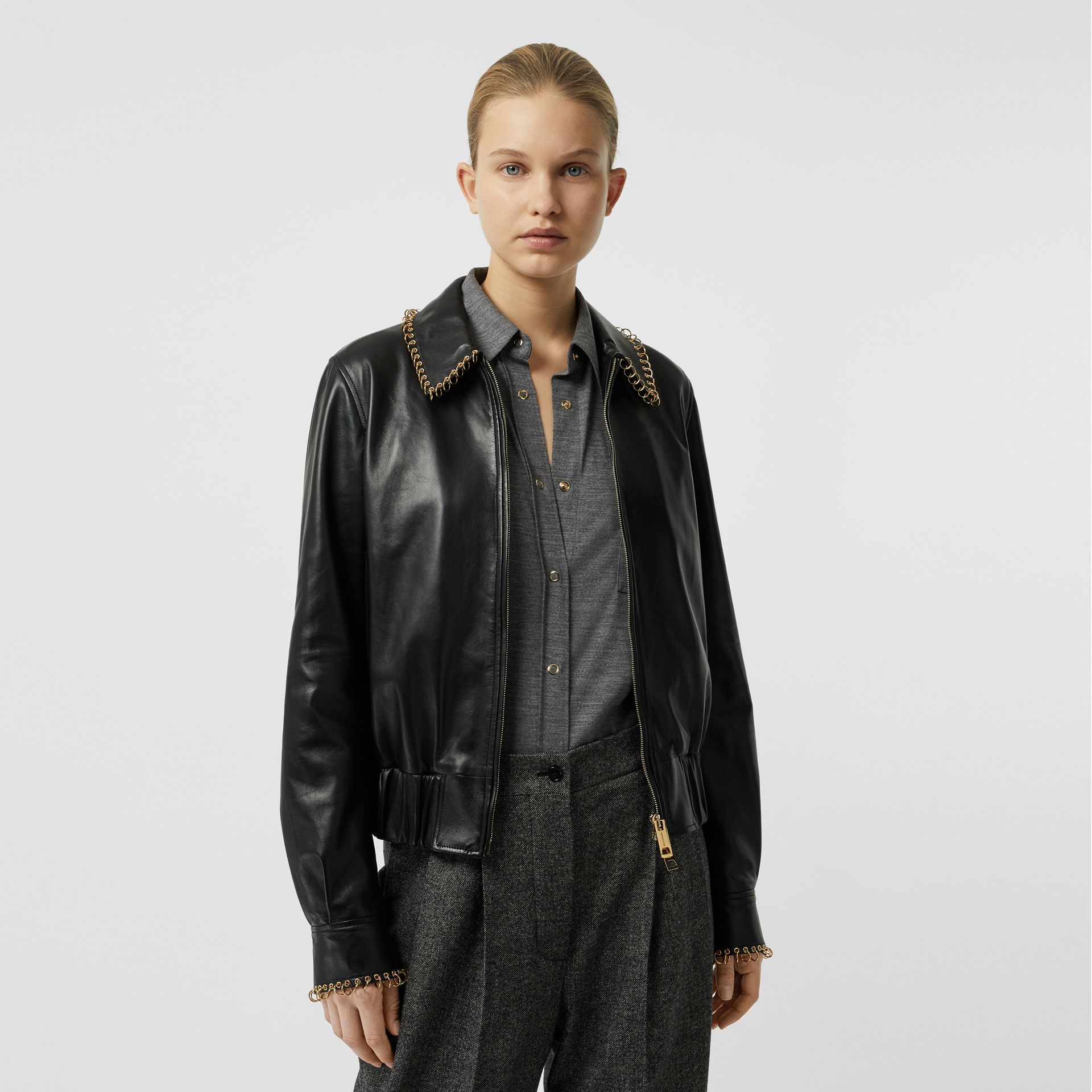 Ring-pierced Lambskin Jacket in Black - Women | Burberry Australia - gallery image 4