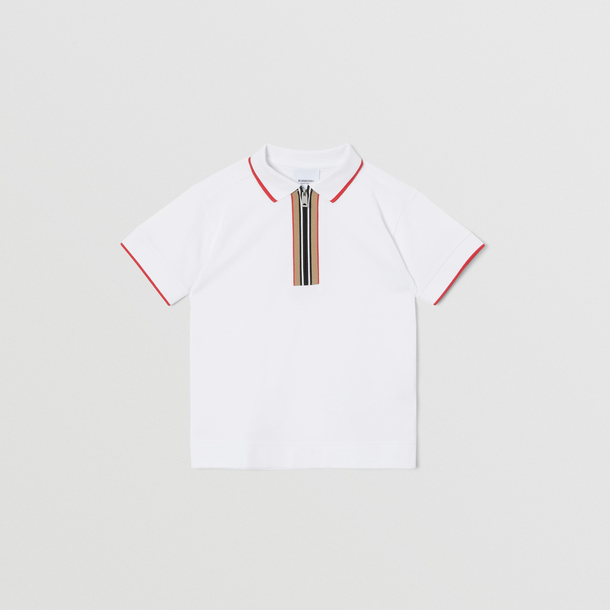 Icon Stripe Detail Cotton Zip-front Polo Shirt in White | Burberry - 1