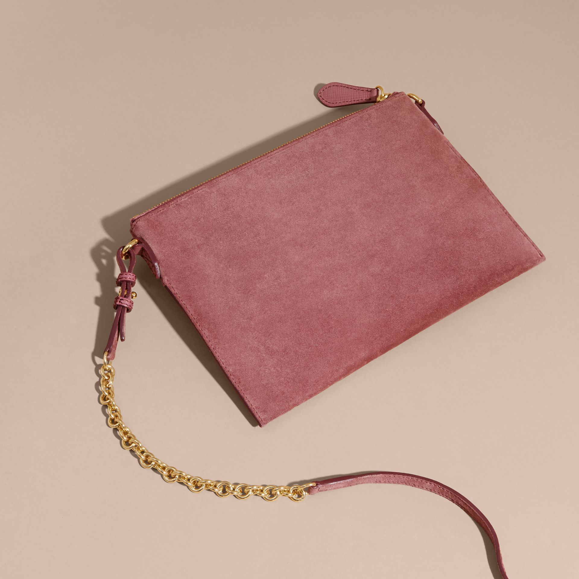 Suede Clutch Bag with Buckled Bow Detail Dusty Pink - gallery image 5