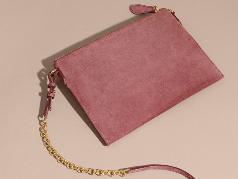 Suede Clutch Bag with Buckled Bow Detail Dusty Pink - cell image 4