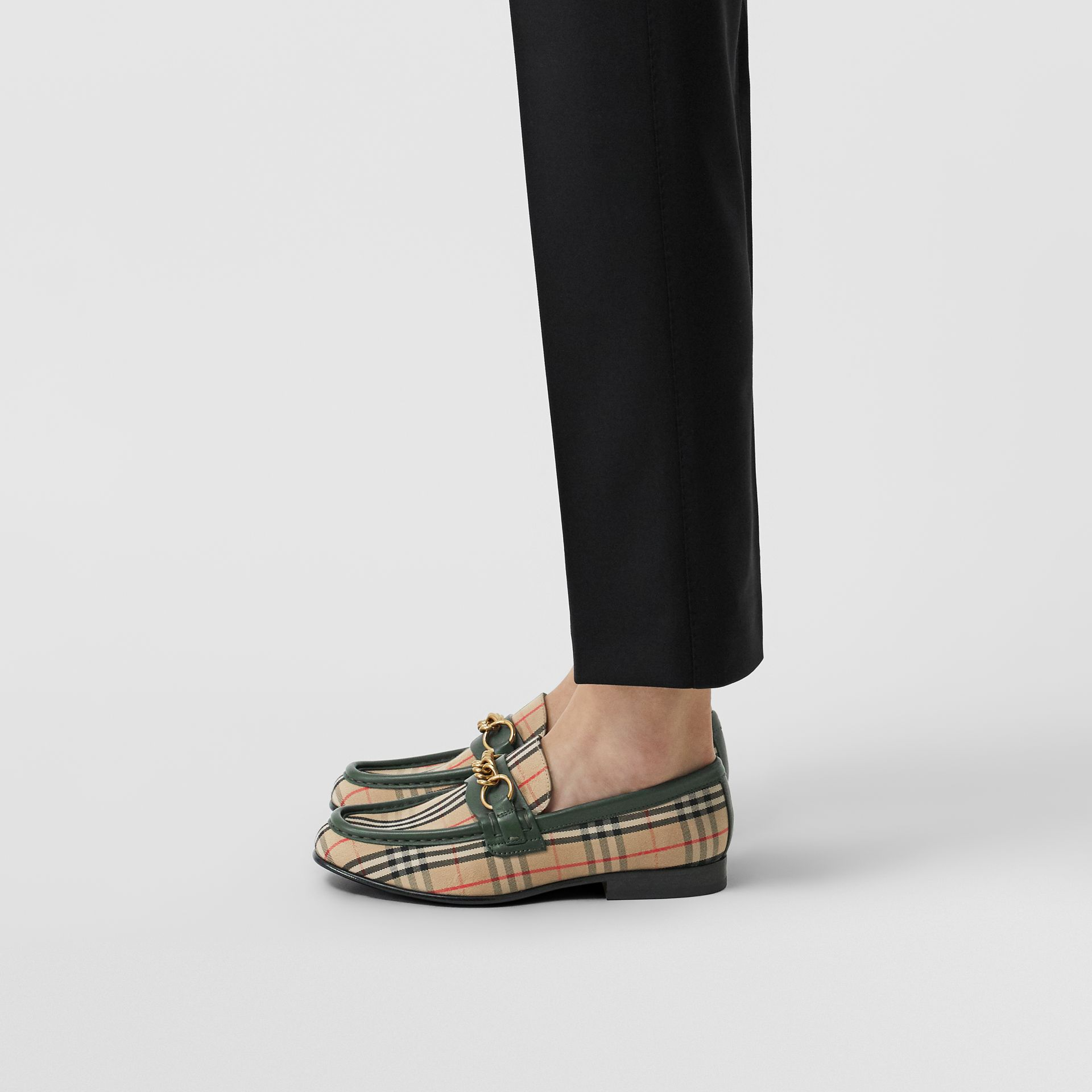 The 1983 Check Link Loafer in Dark Forest Green - Women | Burberry United Kingdom - gallery image 2