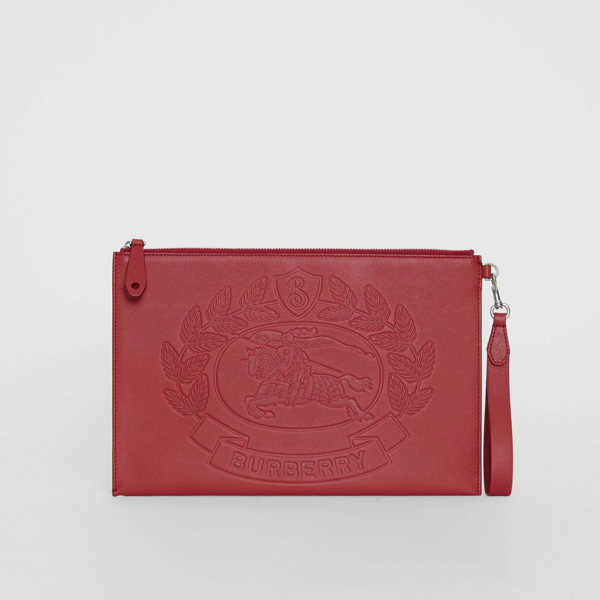 Embossed Crest Leather Zip Pouch in Crimson - Men | Burberry Hong Kong - gallery image 2
