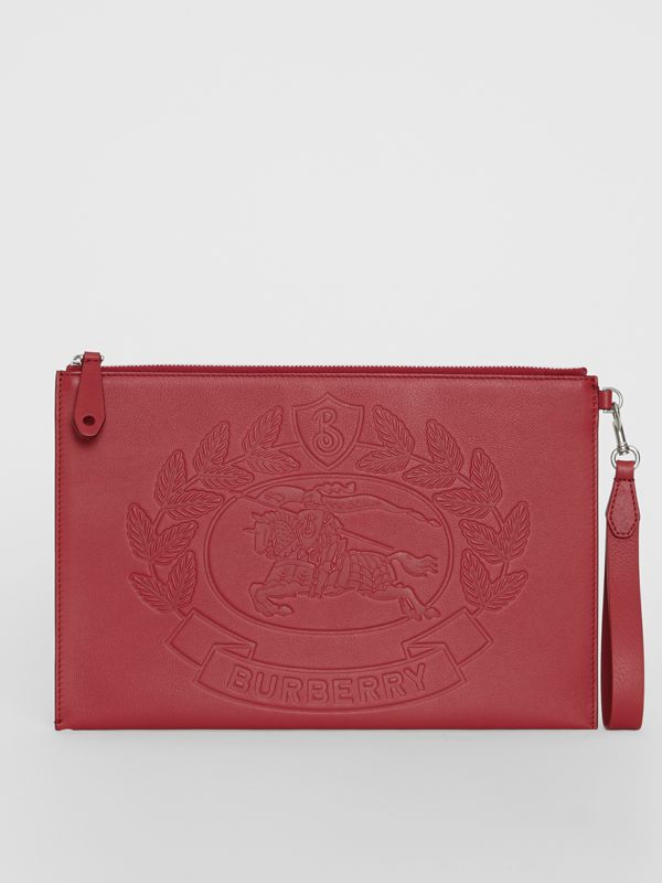 Embossed Crest Leather Zip Pouch in Crimson - Men | Burberry - cell image 2