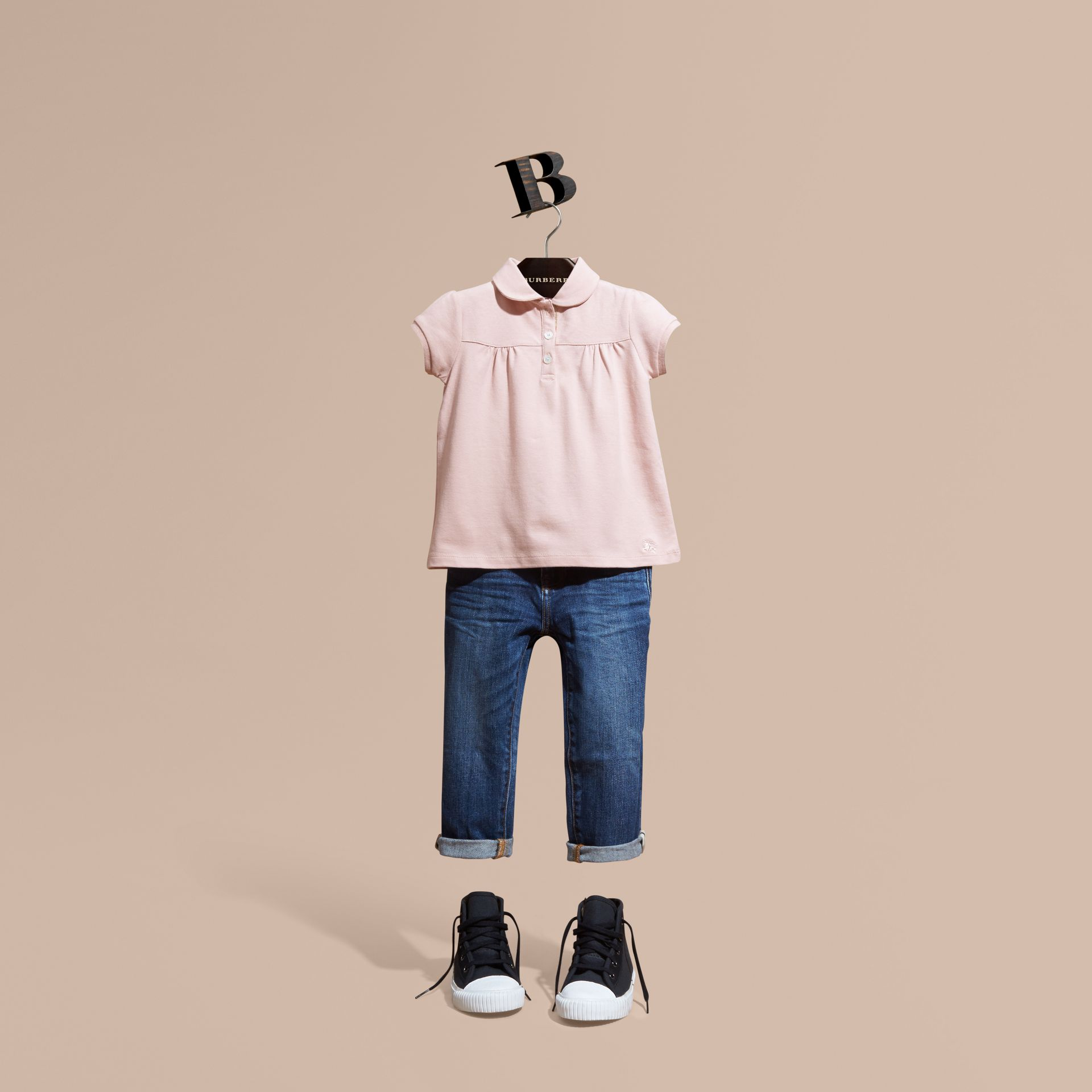 Chalk pink Ruched Detail Stretch Cotton Polo Shirt Chalk Pink - gallery image 1