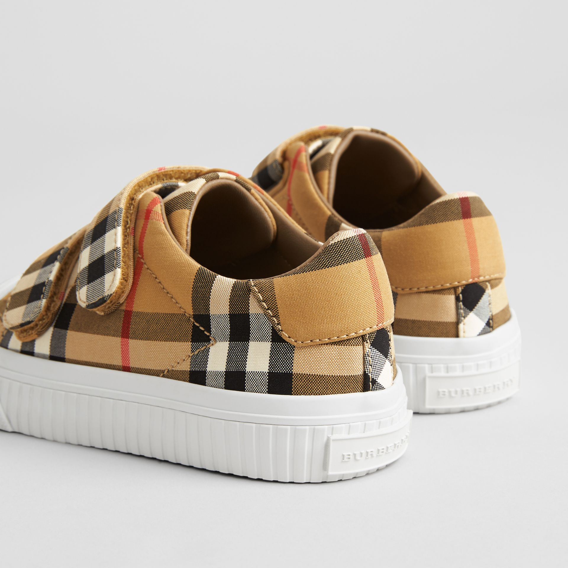 Vintage Check and Leather Sneakers in Antique Yellow/optic White | Burberry United States - gallery image 2