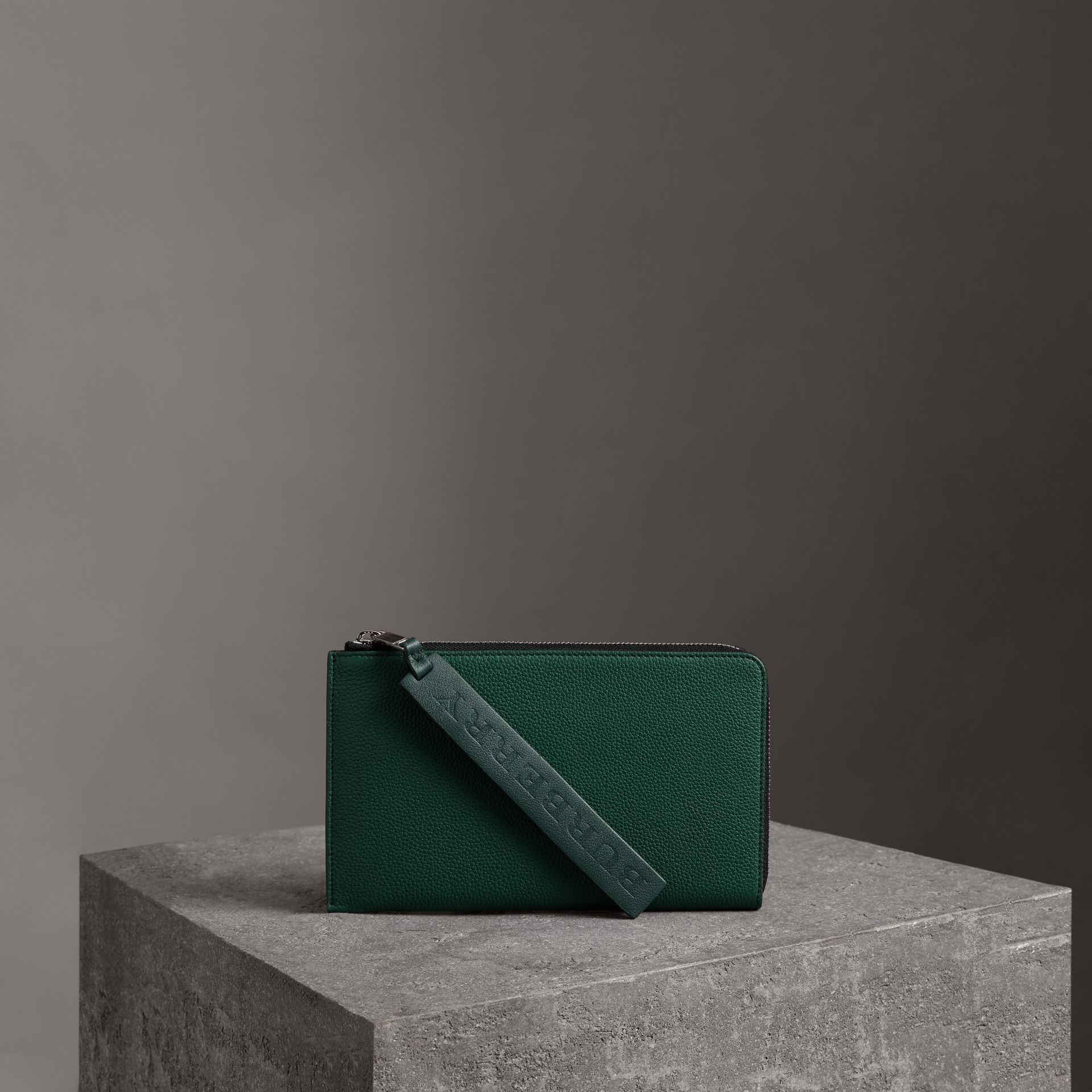 Two-tone Grainy Leather Travel Wallet in Dark Cyan - Men | Burberry - gallery image 0