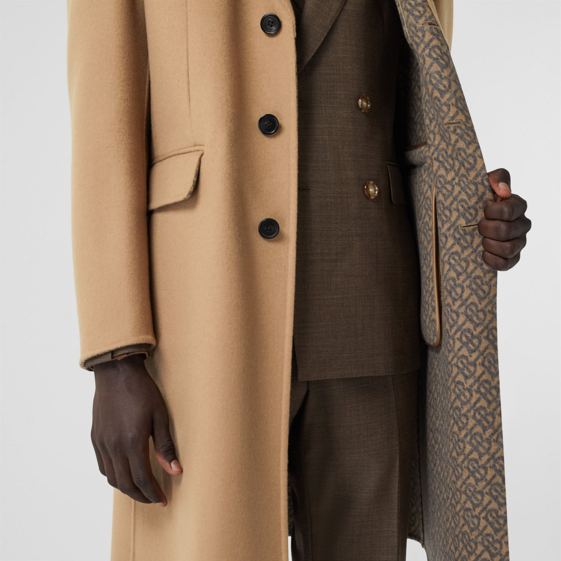 Double-faced Wool Tailored Coat in Soft Fawn/mid Grey Melange - Men | Burberry - gallery image 4