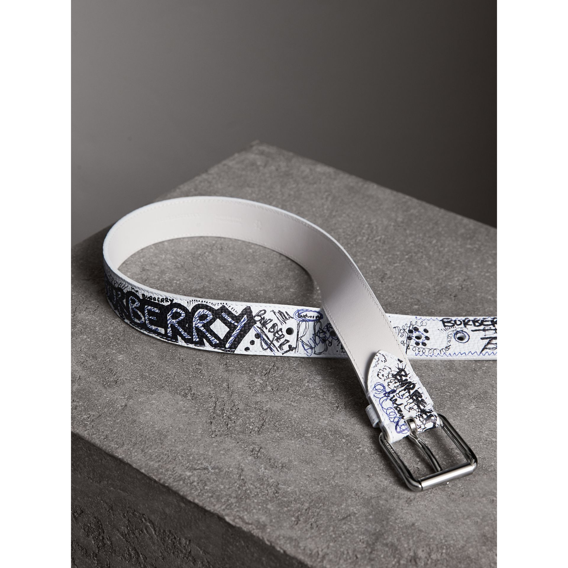 Doodle Print Leather Belt in White - Men | Burberry - gallery image 3